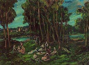 Ernst Huber (Wien 1895-1960 Wien) Idylle am Fluss ol auf Leinwand 56 7 x 76,5 cm 1922 Ruckseitig signiert, datiert und betitelt Estimate -