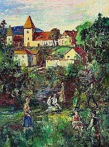 Ernst Huber (Wien 1895-1960 Wien) Dorfidylle ol auf Leinwand 80 x 60 cm Ruckseitig altes Etikett der osterreichischen Galerie