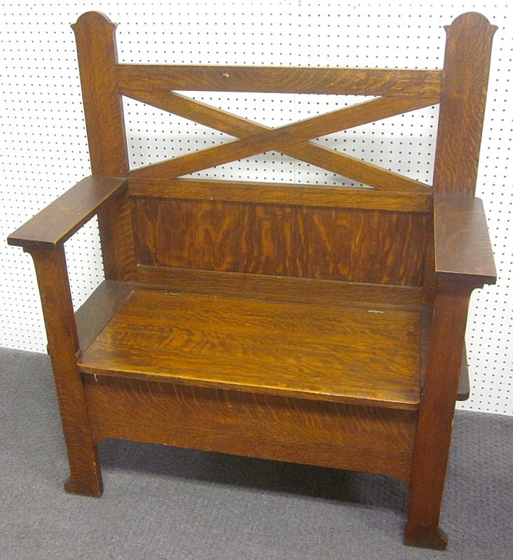 Antique Mission Oak Bench With Storage 48 Tall At Back 41