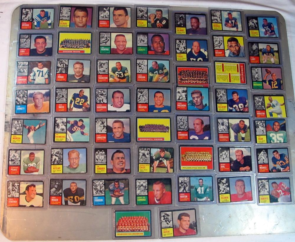 51 DIFF 1962 TOPPS FOOTBALL VG-EX NICE STARTER LOT TEAM CARDS SP MINOR STARS +