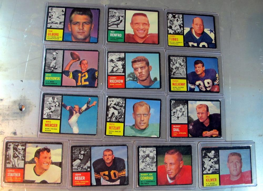 13 DIFF 1962 TOPPS FOOTBALL VG-EX MCELHELLY KILMER MORE BLACK BORDERS