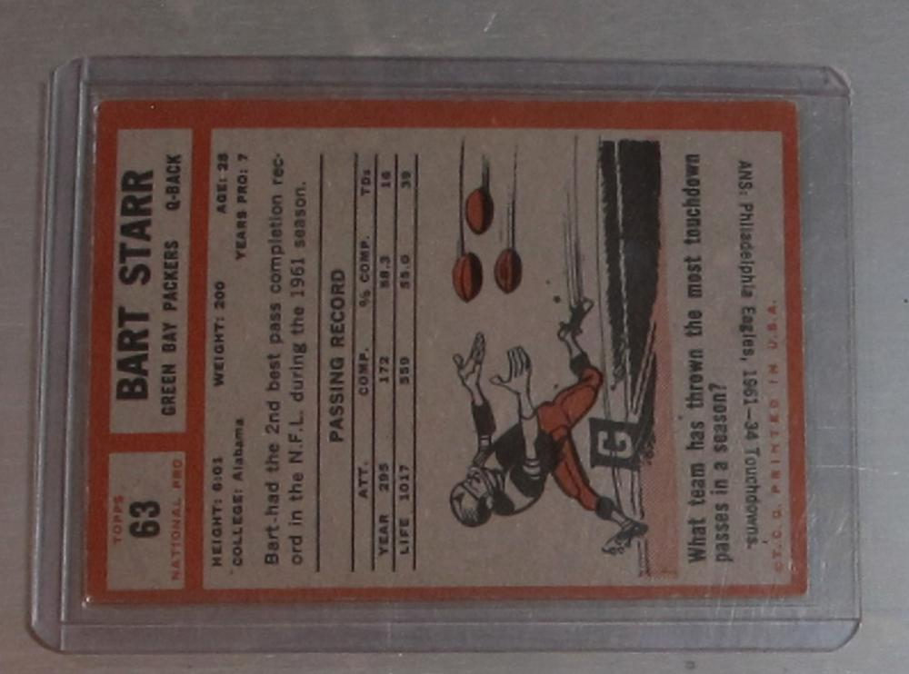 Lot 17: 1962 TOPPS FOOTBALL CARD 63 SP BART STARR VG-EX HOF GREEN BAY PACKERS