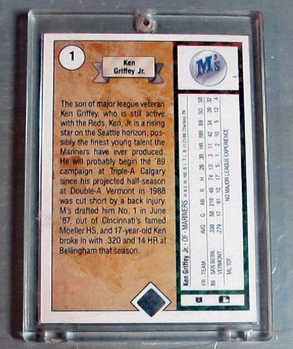 Lot 169: 1989 UPPER DECK BASEBALL CARD 1 HOF KEN GRIFFEY JR. SEATTLE MARINERS NICE NRMT