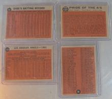 Lot 52: 4 1962 TOPPS BASEBALL CARDS EX BABE RUTH COACHES DODGERS CHECKLIST ANGELS TEAM PRIDE OF A'S