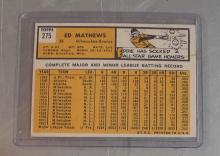 Lot 55: 1963 TOPPS BASEBALL CARD 275 EDDIE ED MATHEWS MILWAUKEE BRAVES HOF NICE EXMT
