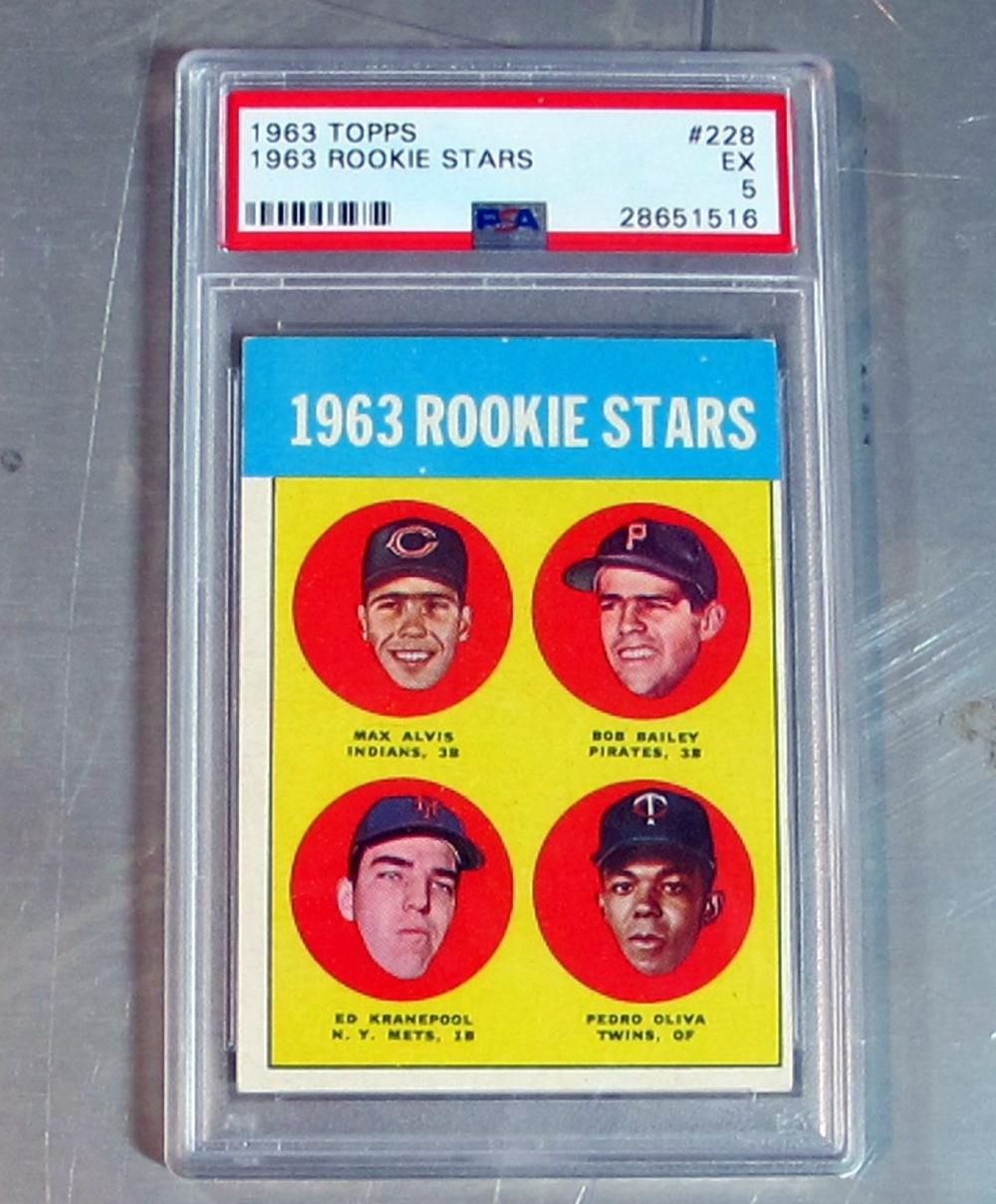 1963 TOPPS BASEBALL CARD 228 OLIVA KRANEPOOL ALVIS BAILEY RC PSA GRADED 5 EX