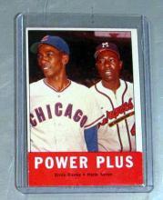 Lot 58: 1963 TOPPS BASEBALL CARD 242 POWER PLUS HANK AARON ERNIE BANKS HOF NICE EX+