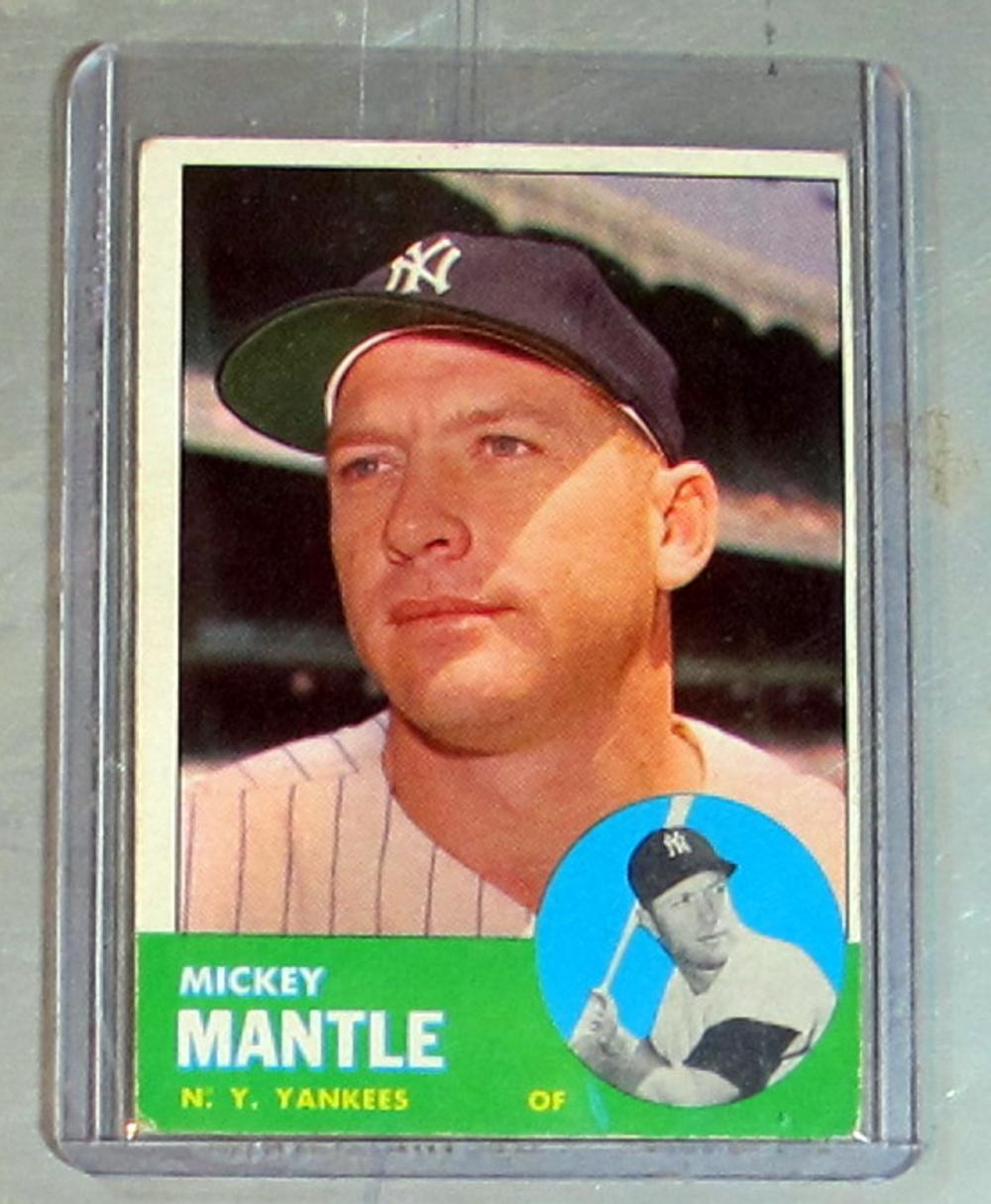 1963 TOPPS BASEBALL CARD 200 MICKEY MANTLE HOF NEW YORK YANKEES EX NICE