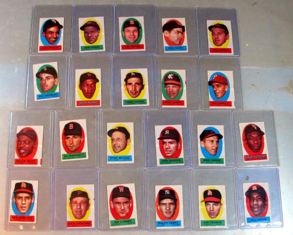 22 DIFF 1963 TOPPS PEEL-OFFS INSERT LOT MAYS KOUFAX MUSIAL ROBINSON  INSTRUCTION HOF EX