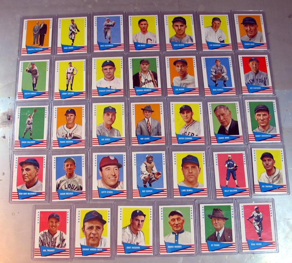 34 DIFF 1961 FLEER BASEBALL GREATS CARD LOT HONUS WAGNER LAJOIE CY YOUNG MORE HOF WXMT-NRMT