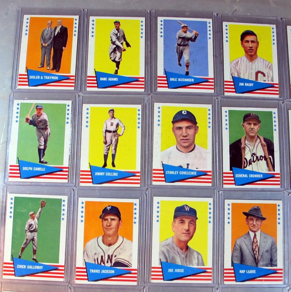 Lot 111: 34 DIFF 1961 FLEER BASEBALL GREATS CARD LOT HONUS WAGNER LAJOIE CY YOUNG MORE HOF WXMT-NRMT