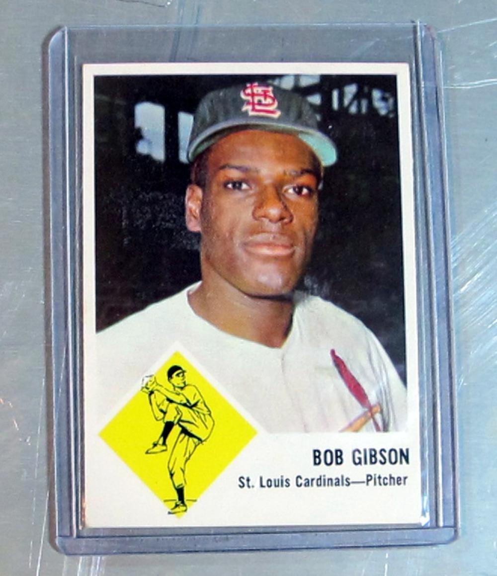 1963 FLEER BASEBALL CARD 61 HOF BOB GIBSON ST LOUIS CARDINALS NICE NRMT