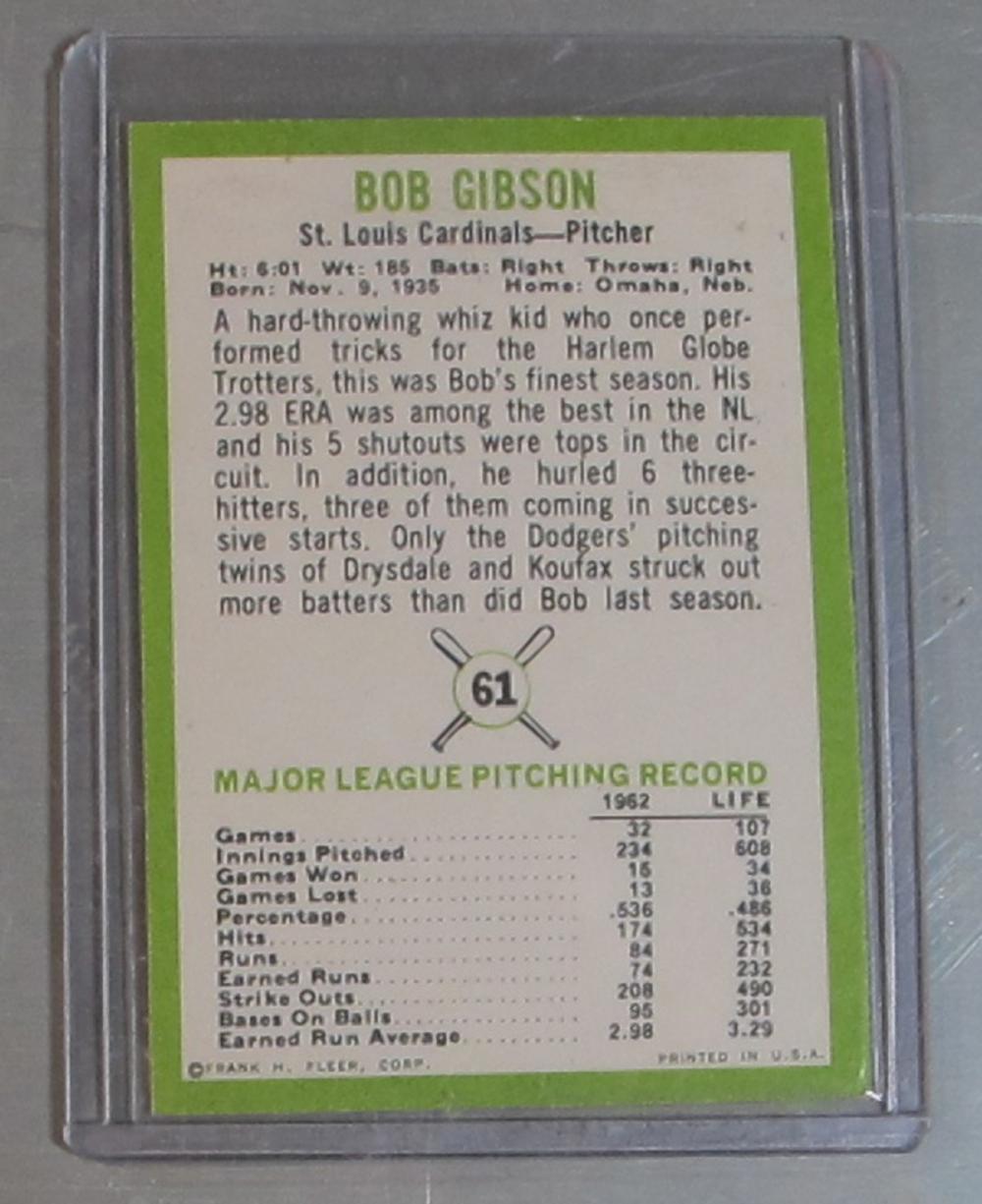 Lot 118: 1963 FLEER BASEBALL CARD 61 HOF BOB GIBSON ST LOUIS CARDINALS NICE NRMT