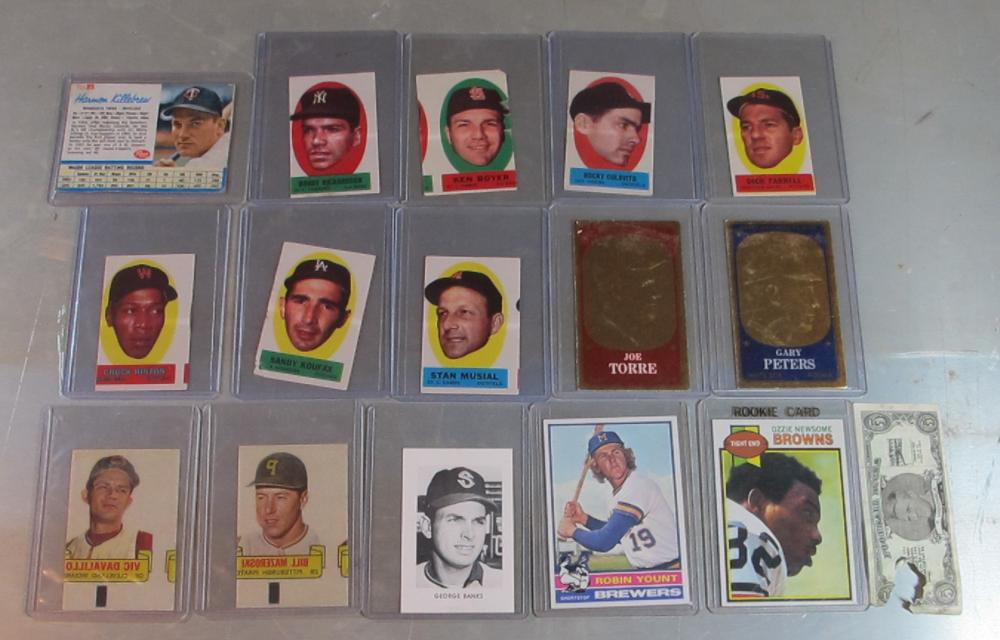 OLD BASEBALL FOOTBALL INSERT ETC LOT 1963 PEEL-OFFS 1966 RUB-OFFS PCL MUSIAL MORE