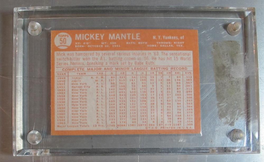 Lot 164: 1964 TOPPS BASEBALL CARD 50 MICKEY MANTLE HOF NEW YORK YANKEES NICE EXMT NRMT