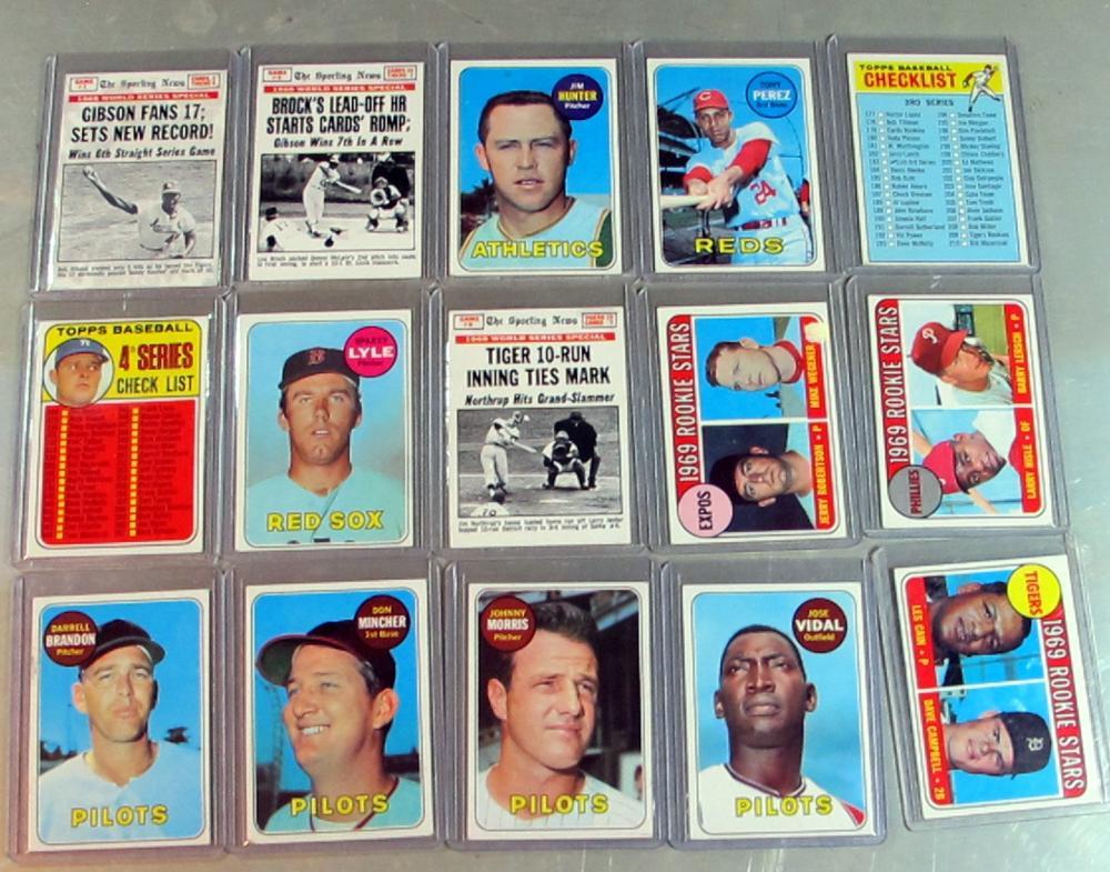15 DIFF 1969 TOPPS BASEBALL CARD LOT HOF HUNTER PEREZ LYLE RC MORE EXMT NRMT