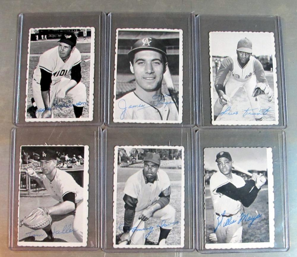6 DIFF 1969 TOPPS DECKLE EDGE BASEBALL CARD LOT HOF B ROBINSON MAYS + MORE EX-NRMT