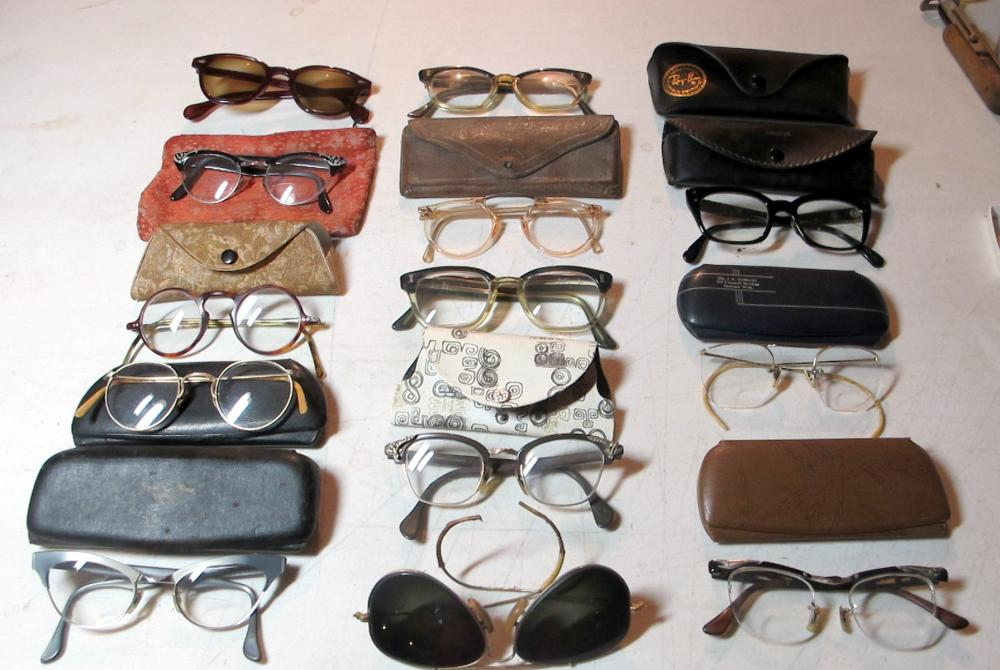 13 PAIR VINTAGE EYEGLASSES CATEYE SAFETY ROUND GF AVIATOR ETC + RAY-BAN ETC CASES