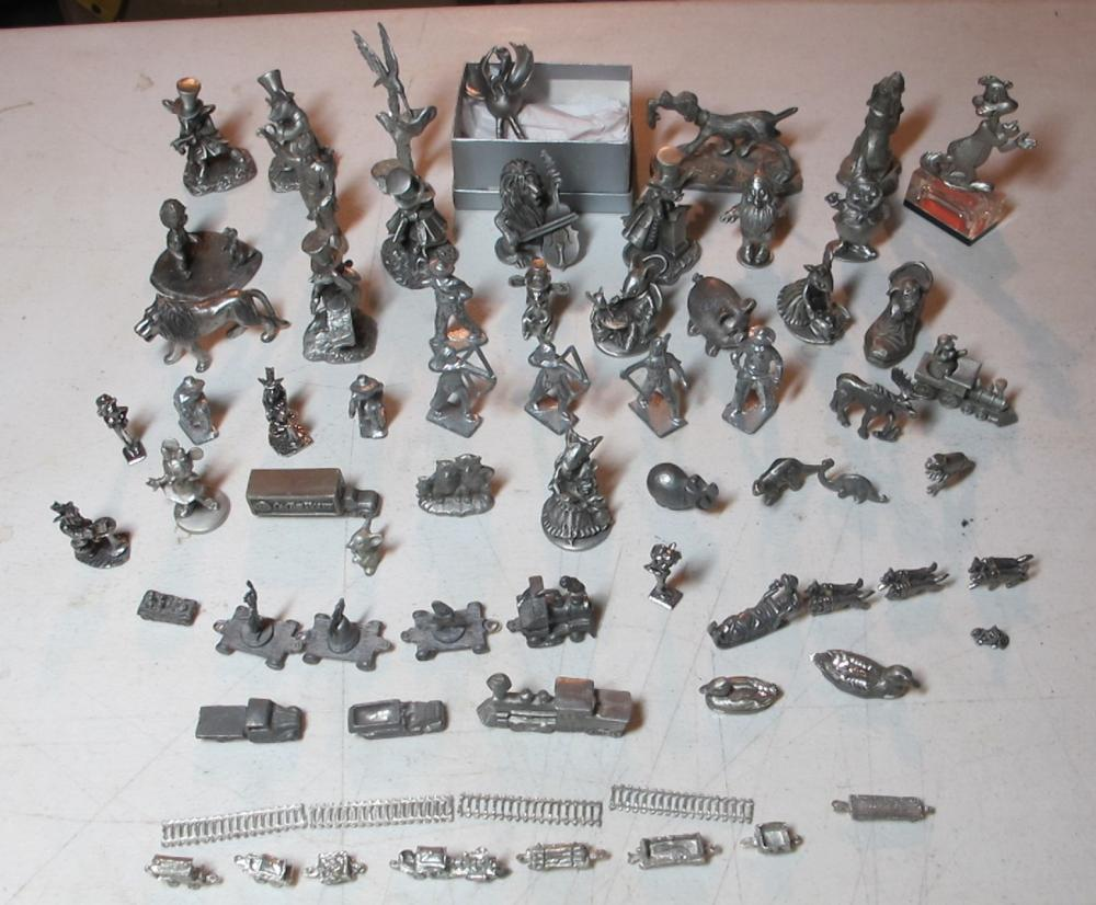 BIG LOT 60+ PEWTER FIGURINES TRAIN SETS DISNEY SPOONTIQUES MICE ANIMALS WESTERN DINOSAURS MORE
