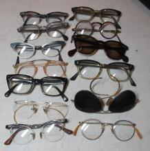 Lot 2: 13 PAIR VINTAGE EYEGLASSES CATEYE SAFETY ROUND GF AVIATOR ETC + RAY-BAN ETC CASES