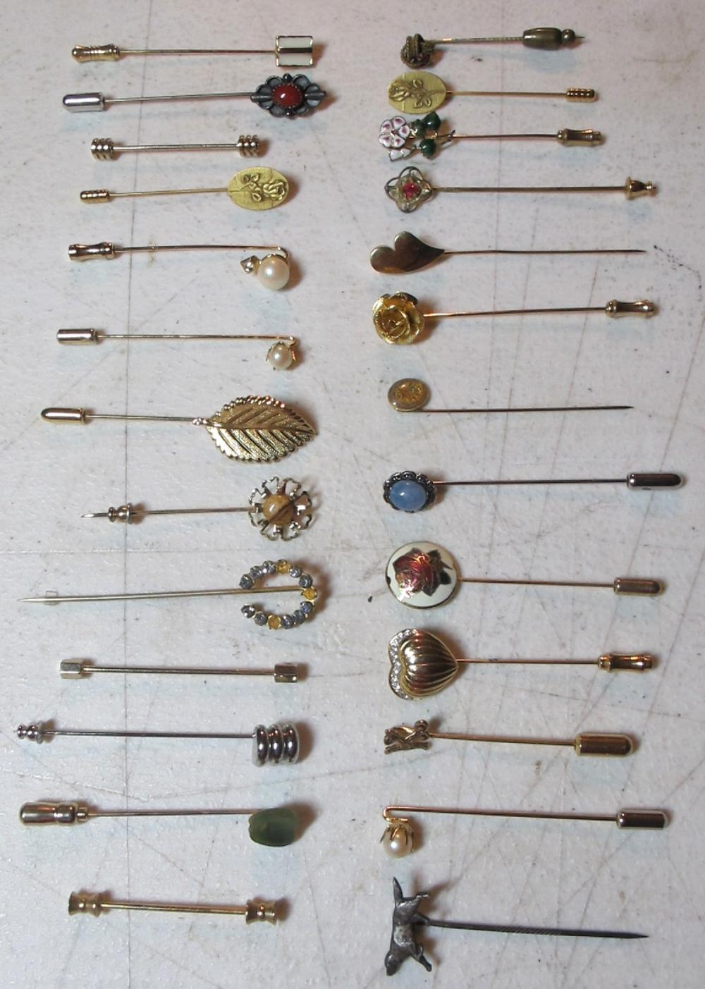 26 DIFFERENT JEWELRY STICKPINS ENAMEL FLORAL FIGURAL ETC