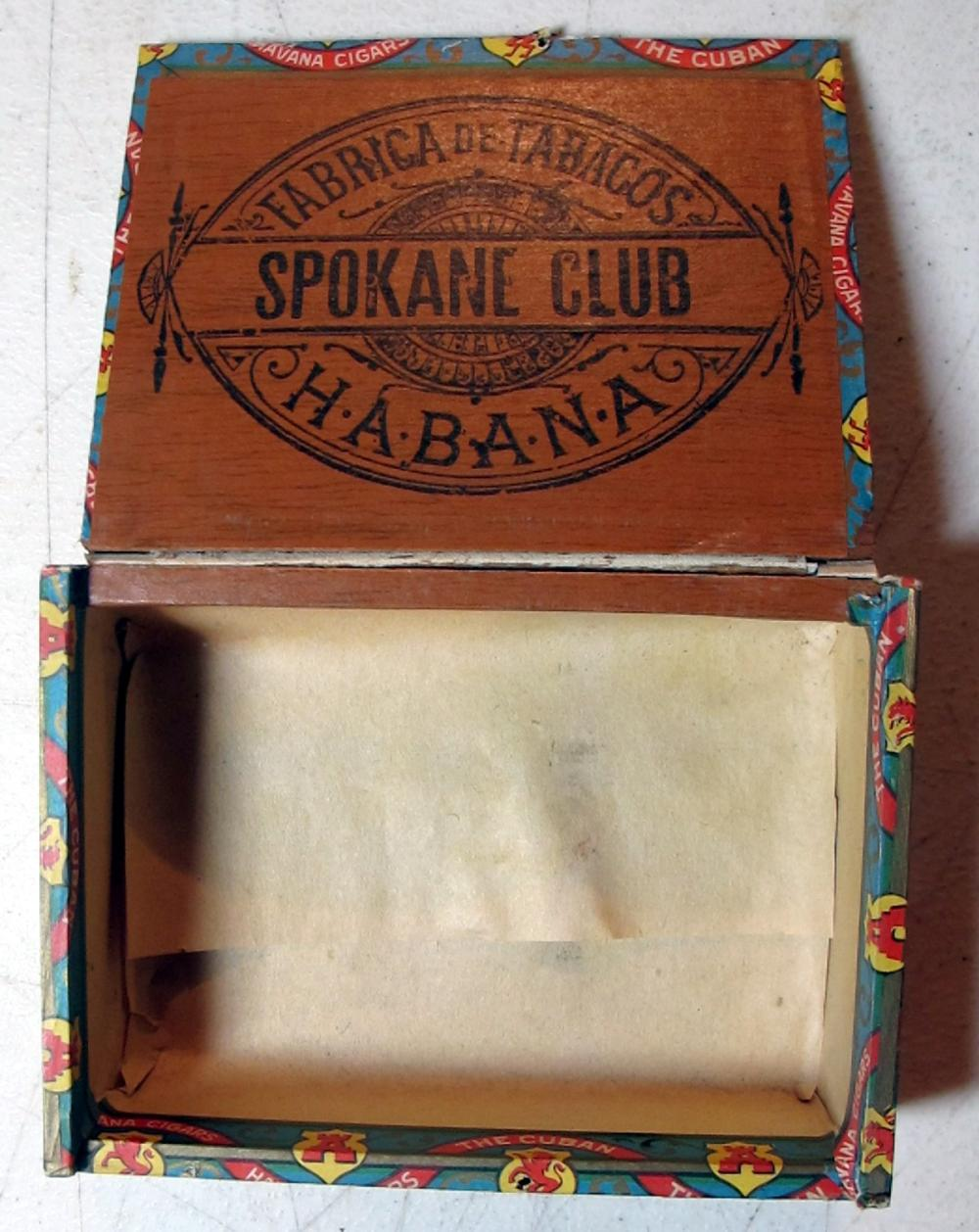 Lot 29: RARE OLD SPOKANE CLUB 10 CT HABANA CUBAN CIGAR BOX SPOKANE WA