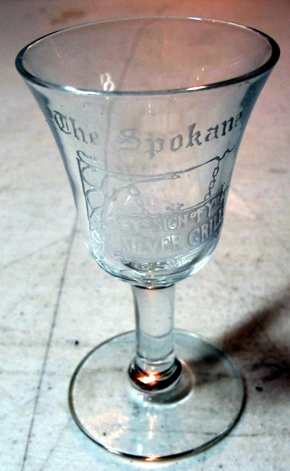 Lot 30: RARE OLD SPOKANE HOTEL YE SIGN OF YE SILVER GRILL PRE-PRO ETCHED SHOT GLASS