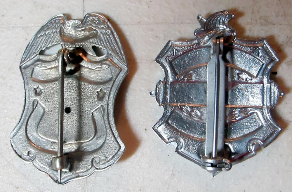Lot 28: 2 ORIGINAL OLD ALMIRA WASHINGTON FIRE DEPT FIREFIGHTER BADGES #12 AND HONORARY