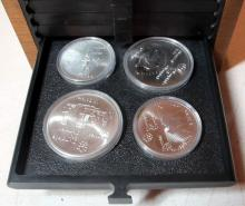 Lot 50: 1976 MONTREAL OLYMPIC GAMES 28 .925 SILVER COMMEMORATIVE COIN SET W/BOX