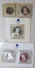 Lot 47: 5 LIBERIA .999 SILVER COINS US PRESIDENTS $20 TEDDY ROOSEVELT FDR CARTER BUSH $10 BUSH W/COA