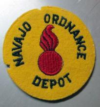 Lot 99: RARE ORIGINAL WWII NAVAJO ORDNANCE DEPOT PATCH NO GLOW BELLEMONT ARIZONA