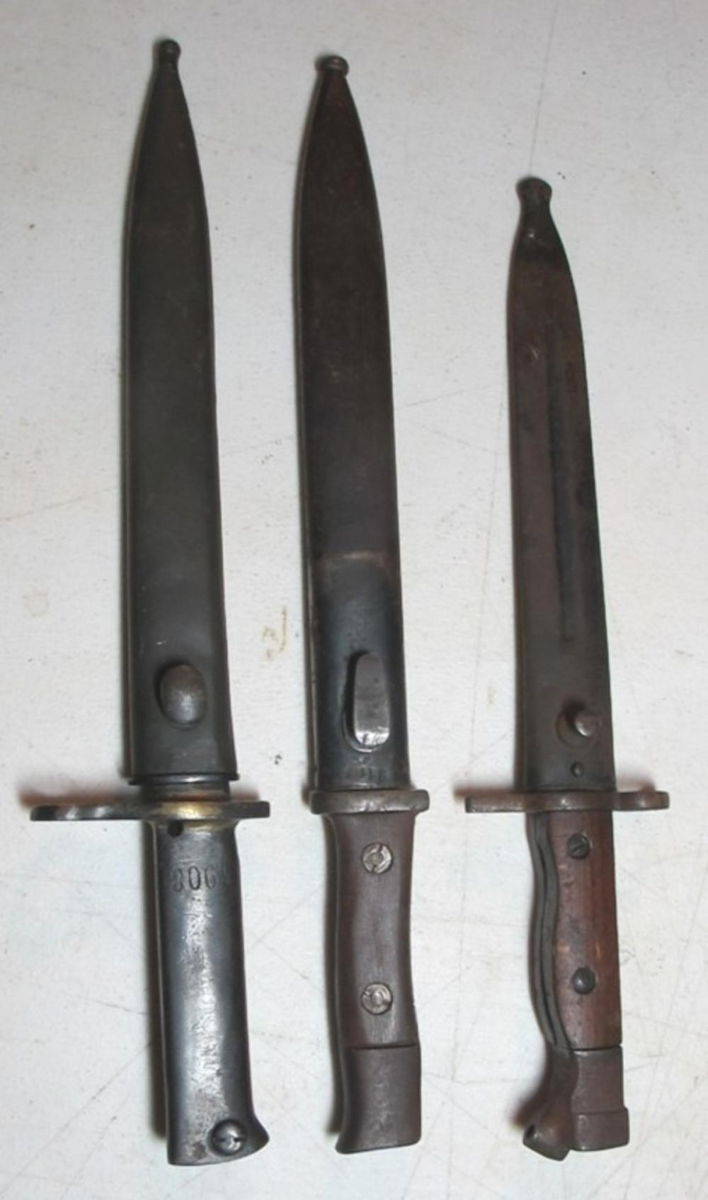 3 WWII ERA BAYONETS 41CQH CLEMEN JUNG GERMAN UNMARKED ETC