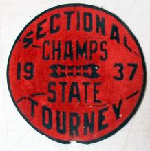 "Lot 80: RARE 1937 NORTH DAKOTA SECTIONAL CHAMPS LACED BASKETBALL LETTER JACKET PATCH 5"" ROUND"