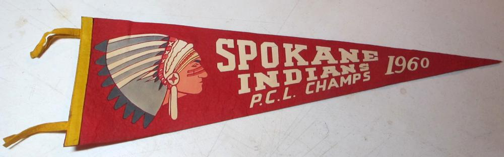 RARE 1960 SPOKANE INDIANS BASEBALL PCL CHAMPS FELT 27 INCH PENNANT