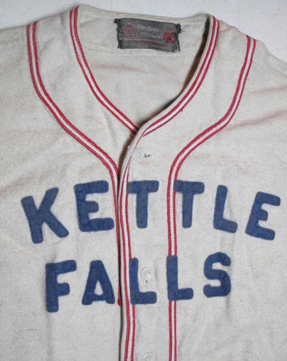 Lot 75: CIRCA 1950 KETTLE FALLS WA MACGREGOR GOLDSMITH MCLEODS DRUG WOOL BASEBALL UNIFORM JERSEY