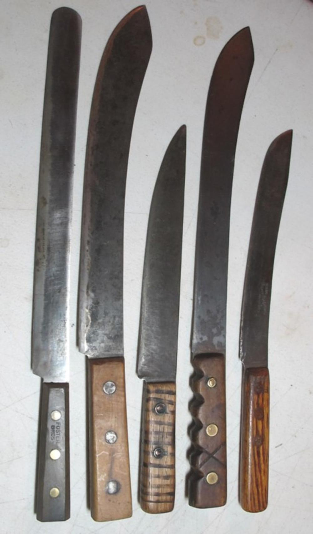5 DIFF ANTIQUE BUTCHER KITCHEN KNIFE KNIVES FOSTER BROS CARVED HANDLE VILLAGE BLACKSMITH MILWAUKEE ETC