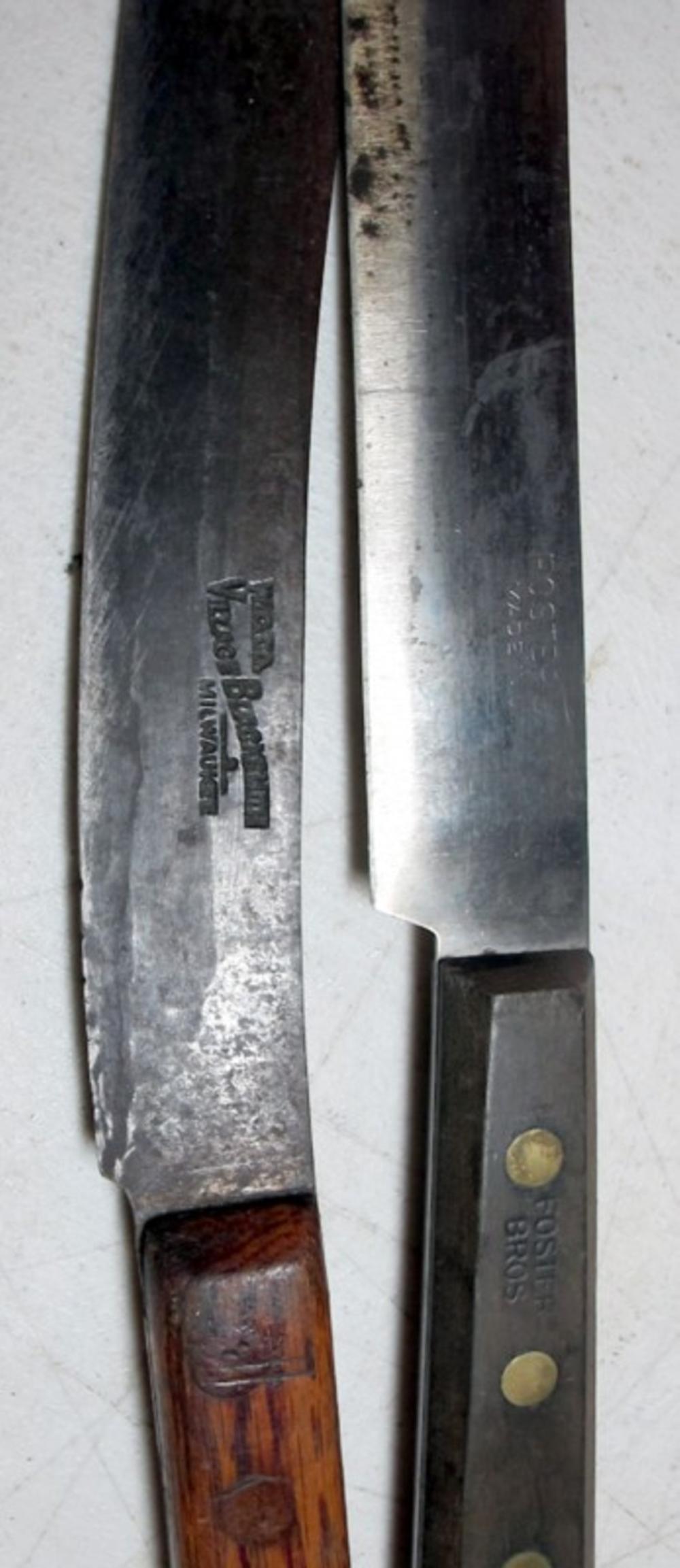 Lot 159: 5 DIFF ANTIQUE BUTCHER KITCHEN KNIFE KNIVES FOSTER BROS CARVED HANDLE VILLAGE BLACKSMITH MILWAUKEE ETC