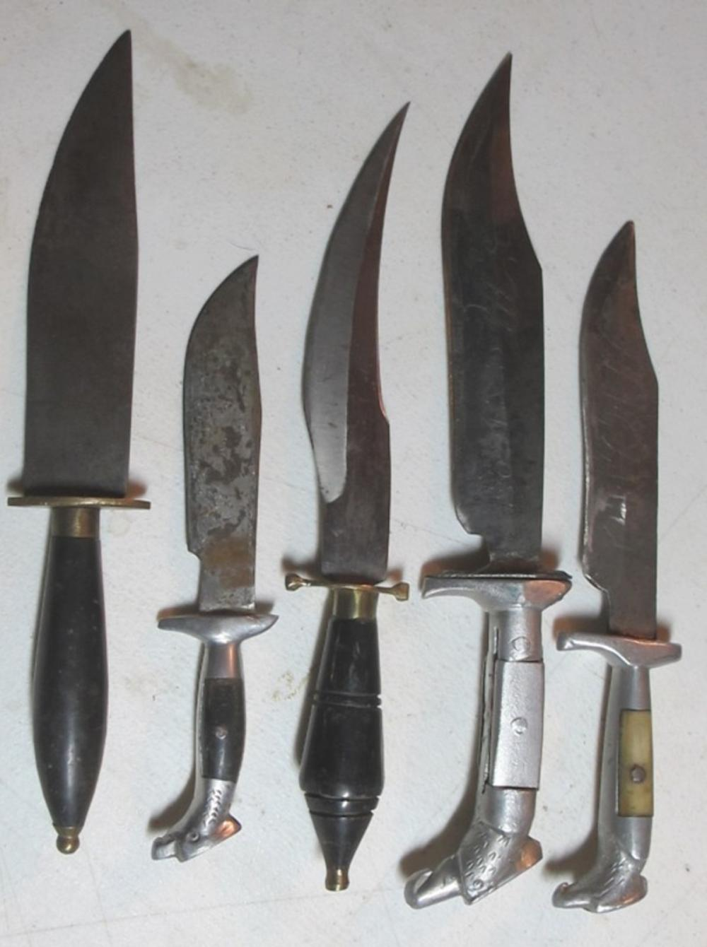 5 DIFF VINTAGE MEXICO FIXED HANDLE KNIVES EAGLE HEAD SIGNED BLADE ETC
