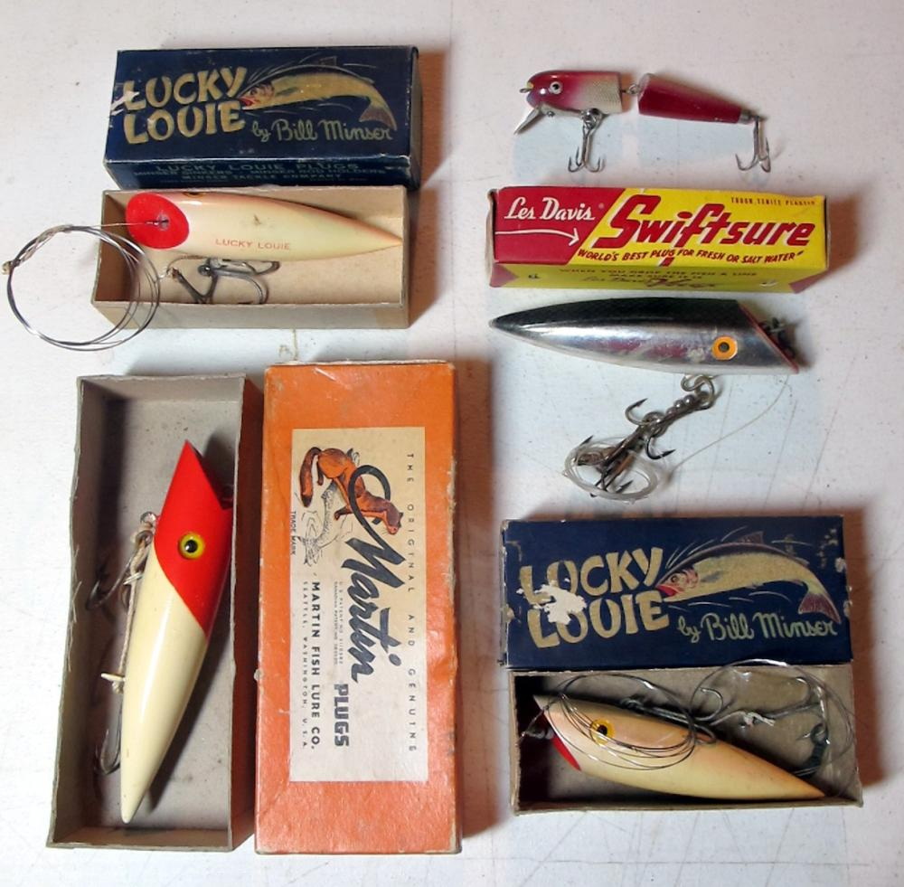5 VINTAGE FISHING LURES SALMON PLUGS MARTIN LUCKY LOUIE LES DAVIS W/BOX +