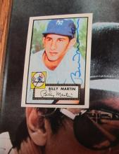 Lot 170: BILLY MARTIN YANKEES SIGNED 8 X 10 PHOTO + SIGNED 1952 TOPPS REPRINT CARD FRAMED