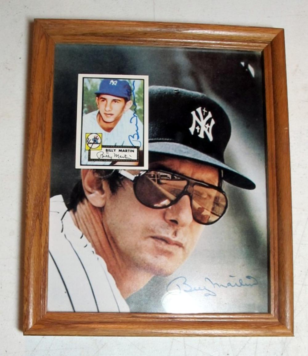 BILLY MARTIN YANKEES SIGNED 8 X 10 PHOTO + SIGNED 1952 TOPPS REPRINT CARD FRAMED