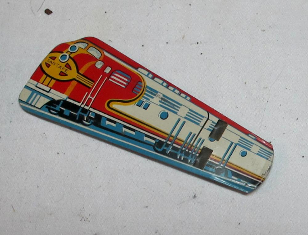 VINTAGE TIN LITHO TOY SANTA FE TRAIN WHISTLE