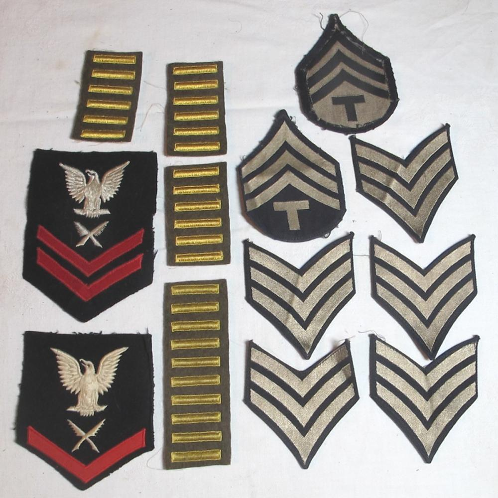 WWII PATCH LOT DATED NAVY SHOULDER SERVICE STRIPS CHEVRONS GOLD BARS