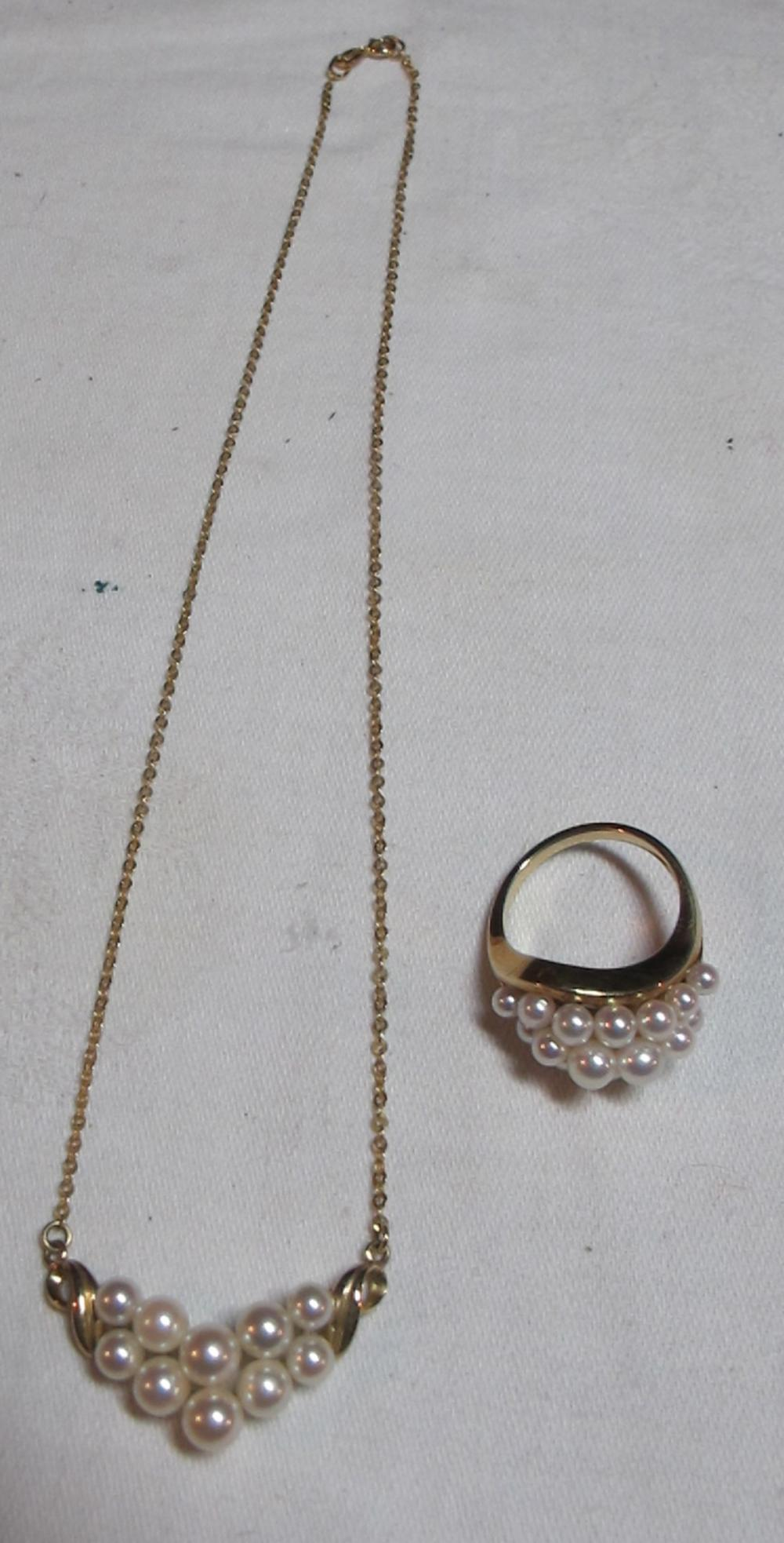 Lot 41: WHITE PEARL 14K YELLOW GOLD RING 6.25 AND NECKLACE PENDANT SET 585