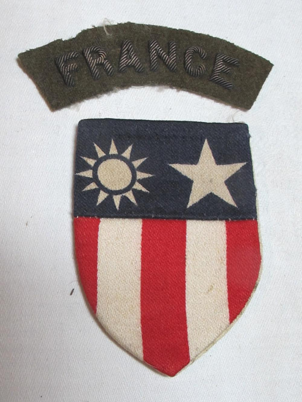 WWII THEATER MADE SILK CBI CHINA BURMA INDIA PATCH AND FRANCE BULLION PATCH