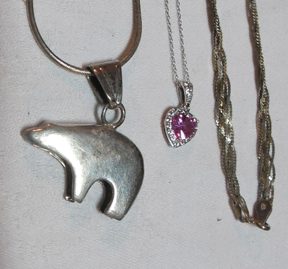 Lot 130: 5 DIFFERENT STERLING SILVER NECKLACES BEAR PENDANT PINK GEMSTONE BRAIDED ETC