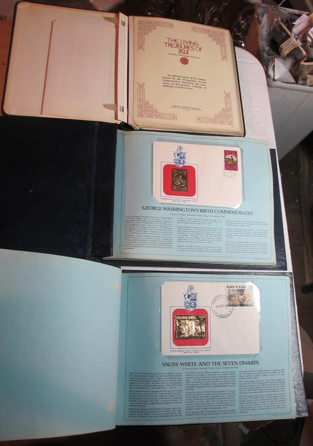 Lot 146: 105 23KT GOLD FOIL STAMPS IN 3 ALBUMS TREASURES OF ASIA + 75 FDC ROYAL INTL COLLECTION