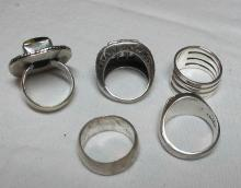 Lot 128: 5 DIFFERENT STERLING SILVER FASHION RINGS AGATE I CHING ABSTRACT ETC NICE VARIETY