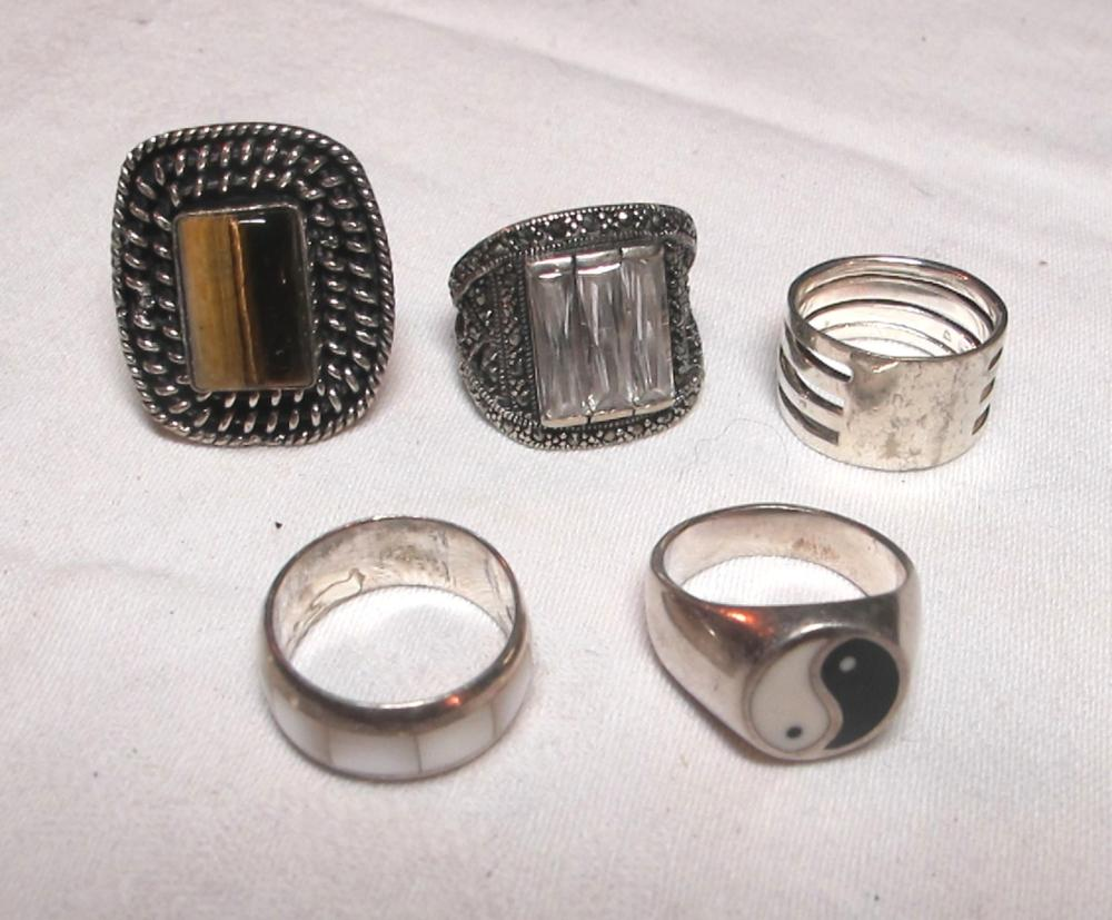 5 DIFFERENT STERLING SILVER FASHION RINGS AGATE I CHING ABSTRACT ETC NICE VARIETY