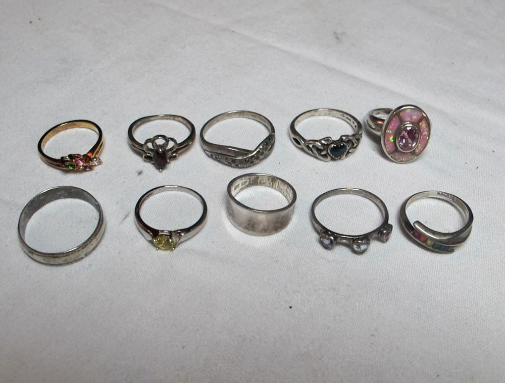 10 ASSORTED STERLING SILVER RINGS GEMSTONE 8 LADIES 2 MENS
